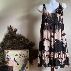 New Look Nude and Black Racer back ruffle dress
